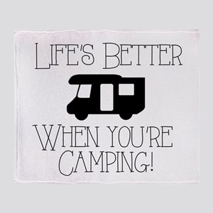 Life's Better Camping Throw Blanket