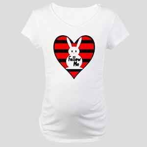 Follow Me White Rabbit Heart Maternity T-Shirt