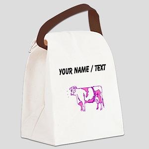 Custom Purple Cow Canvas Lunch Bag
