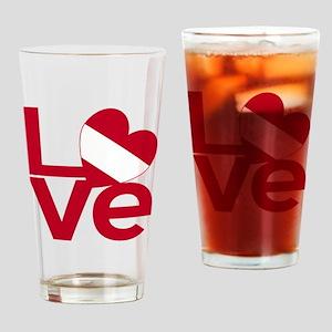 Red Austrian LOVE Drinking Glass