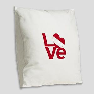Red Austrian LOVE Burlap Throw Pillow
