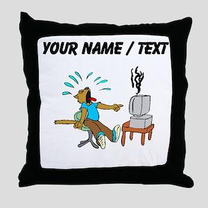 Custom Wolf Computer Failure Throw Pillow
