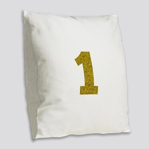 Number 1 Burlap Throw Pillow