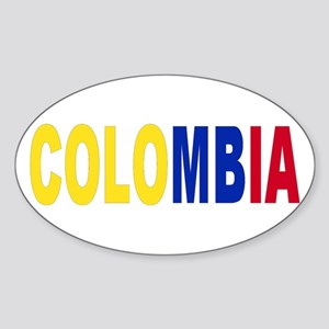 Colombia tricolor name Sticker (Oval)
