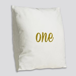 One Script Burlap Throw Pillow