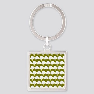 Olive and White Tree Illustartion Square Keychain