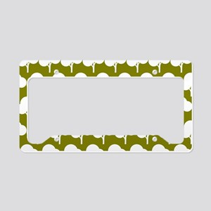 Olive and White Tree Illustar License Plate Holder