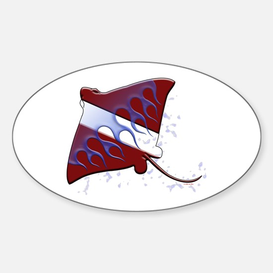 Dive Flag: Ray Sticker (Oval)