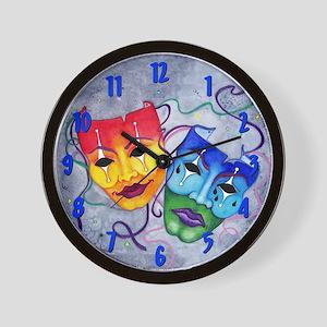 Comedy Tragedy Wall Clock ~ Blue