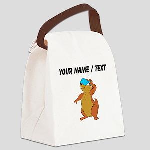 Custom Chipmunk Peeking Canvas Lunch Bag