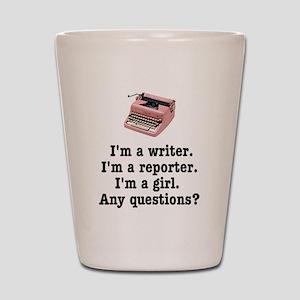 pinktypewriterback Shot Glass
