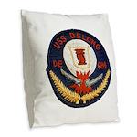 USS DELONG Burlap Throw Pillow