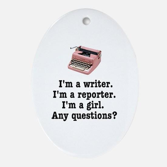 pinktypewriterback.jpg Oval Ornament