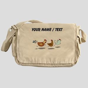 Custom Chickens Running Messenger Bag