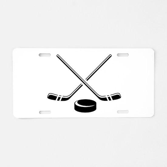 Hockey Sticks Aluminum License Plate