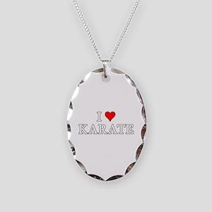 I Love Karate Necklace Oval Charm