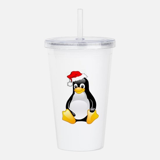 Tux The Penguin Wearing Santa Hat Acrylic Double-w