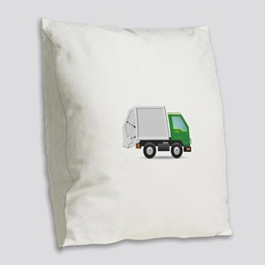 Garbage Truck Burlap Throw Pillow