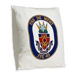 USS DE WERT Burlap Throw Pillow