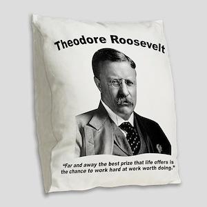 TRoosevelt: Work Burlap Throw Pillow