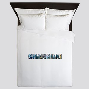 Shanghai China Skyline Queen Duvet