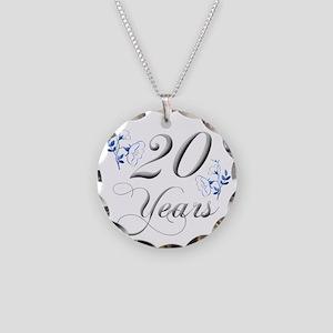 20th Wedding Anniversary Necklace Circle Charm