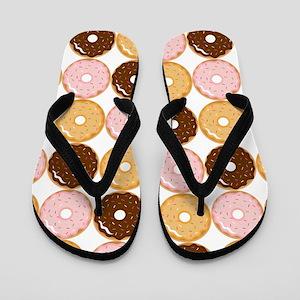 Frosted Donut Pattern Flip Flops