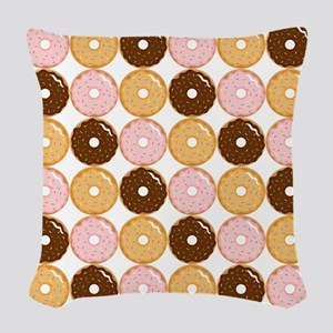 Frosted Donut Pattern Woven Throw Pillow