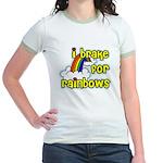 I Brake For Rainbows Jr. Ringer T-Shirt