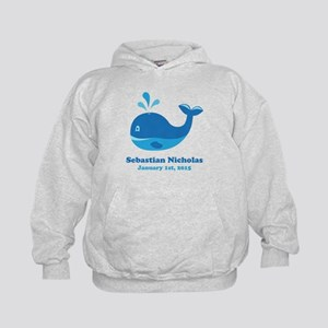 Whale CUSTOM Baby Name Birthdate Hoodie