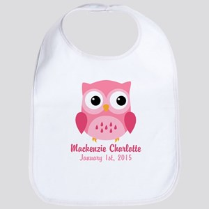 Pink Owl CUSTOM Baby Name Birthdate Bib