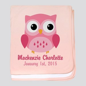 Owl baby clothes accessories cafepress pink owl custom baby name birthdate baby blanket negle Choice Image