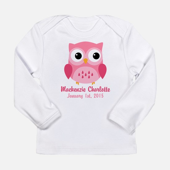 Pink Owl CUSTOM Baby Name Birthdate Long Sleeve T-