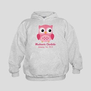 Pink Owl CUSTOM Baby Name Birthdate Hoodie