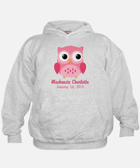 Pink Owl CUSTOM Baby Name Birthdate Hoodie