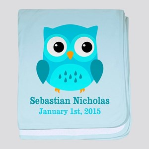 Blue Owl CUSTOM Baby Name Birthdate baby blanket