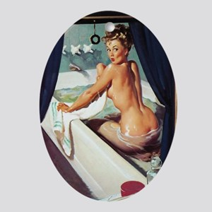 pinup in the tub Oval Ornament