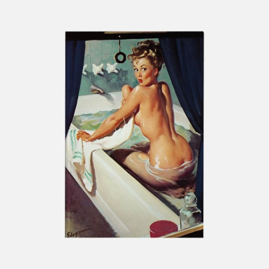 pinup in the tub Rectangle Magnet