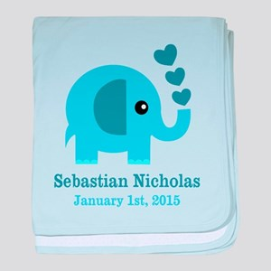 Blue Elephant CUSTOM baby name birthdate baby blan