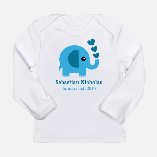 Blue Elephant CUSTOM baby name birthdate Long Slee