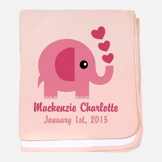 Pink Elephant CUSTOM Baby name birthdate baby blan