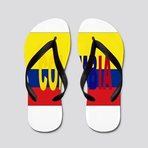 COLOMBIA FLAG WITH NAME Flip Flops