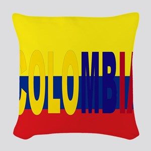 COLOMBIA FLAG WITH NAME Woven Throw Pillow