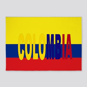 COLOMBIA FLAG WITH NAME 5'x7'Area Rug