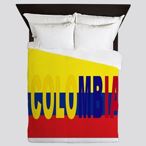 COLOMBIA FLAG WITH NAME Queen Duvet