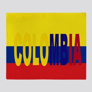 COLOMBIA FLAG WITH NAME Throw Blanket