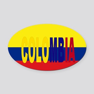COLOMBIA FLAG WITH NAME Oval Car Magnet