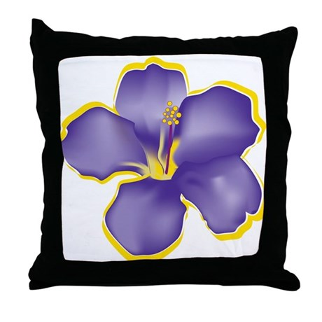 Purple Tropical Flowers Throw Pillow