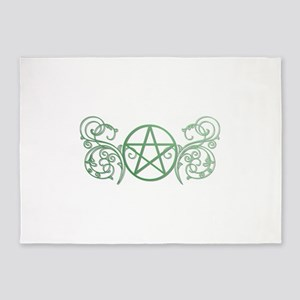 Pretty green pentacle 5'x7'Area Rug