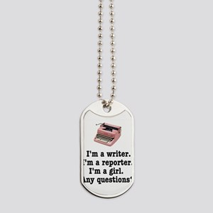 pinktypewriterback Dog Tags